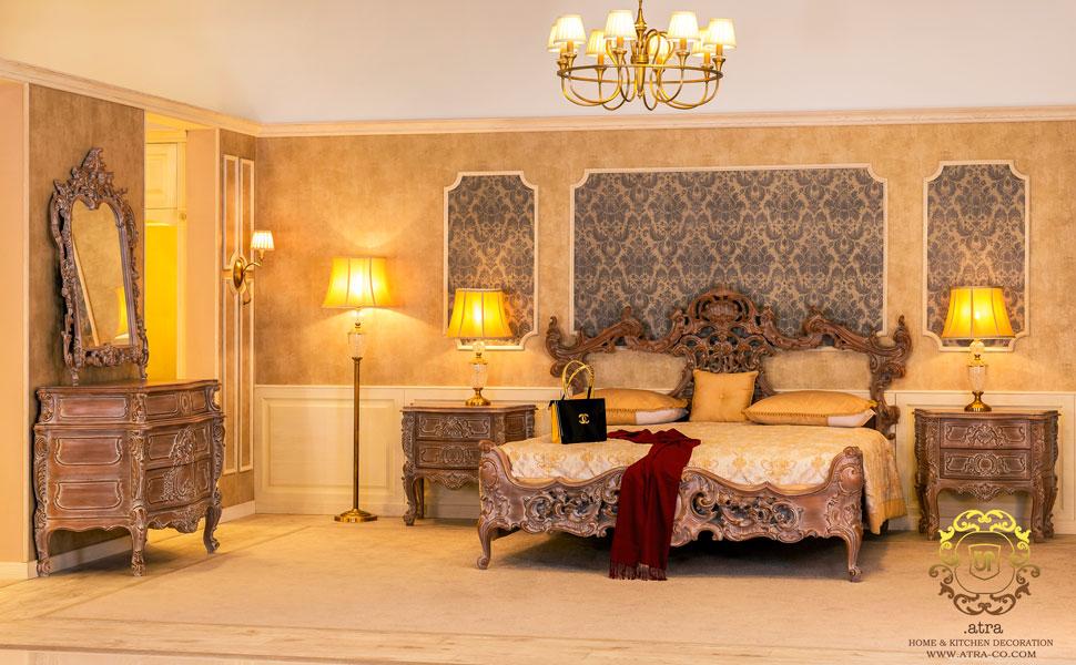 سرویس خواب تمام چوب سلطنتی و طرح کلاسیک از جنس چوب راش، گروه طراحی دکوراسیون داخلی آترا مشهد