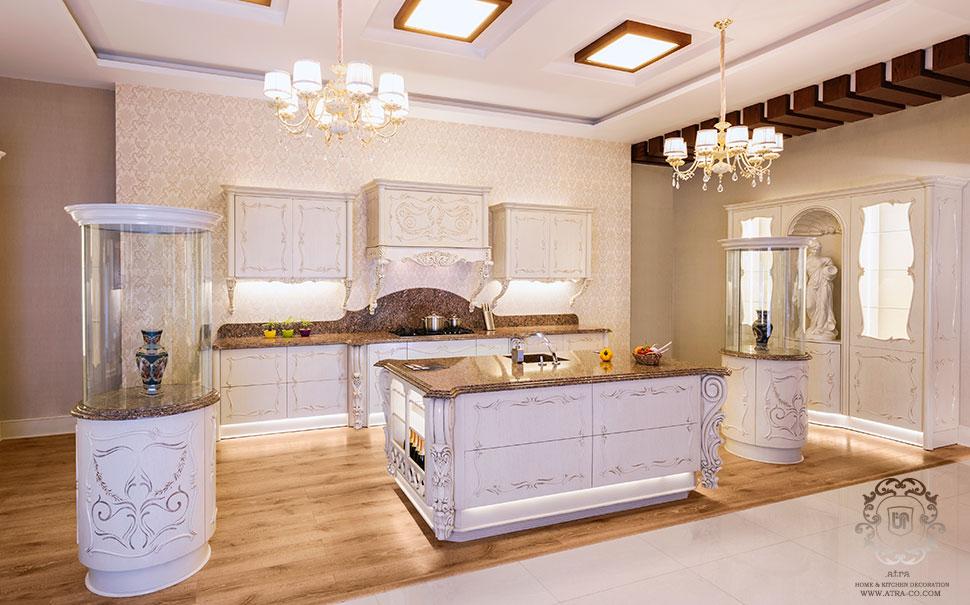 کابینت آشپزخانه مشهد مدل تمام چوب کلاسیک و منبت کاری شده فلورانس، گروه طراحی دکوراسیون داخلی آترا ارائه دهنده خدمات طراحی، تولید و اجرای کابینت آشپزخانه مشهد