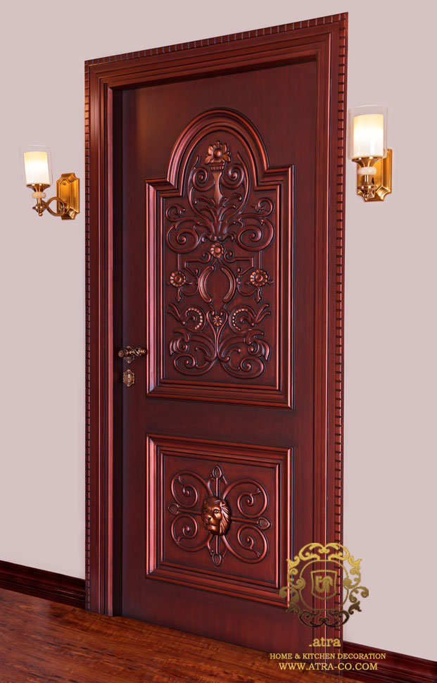 wooden Door with inlaid handmade and painted by Italian polyurethane