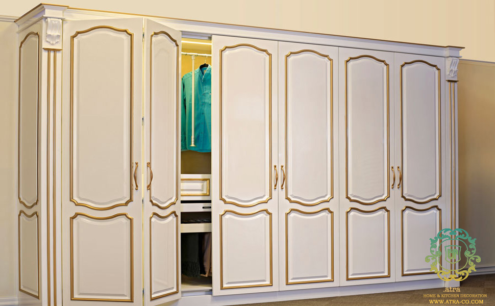 Lacquer accordion Wardrobe With retractable doors