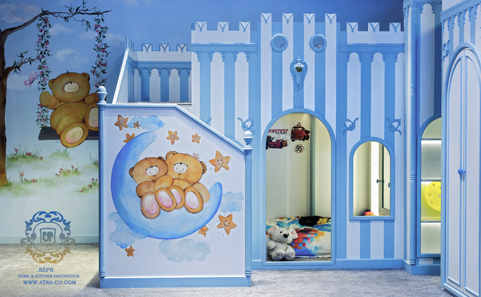 Kid's room decoration, wood and paints are handmade