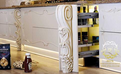 کابینت  آشپزخانه مشهد مدل کلاسیک تمام چوب فلورانس، طراحی دکوراسیون داخلی آترا ارائه دهنده خدمات طراحی، تولید و اجرای کابینت آشپزخانه مشهد