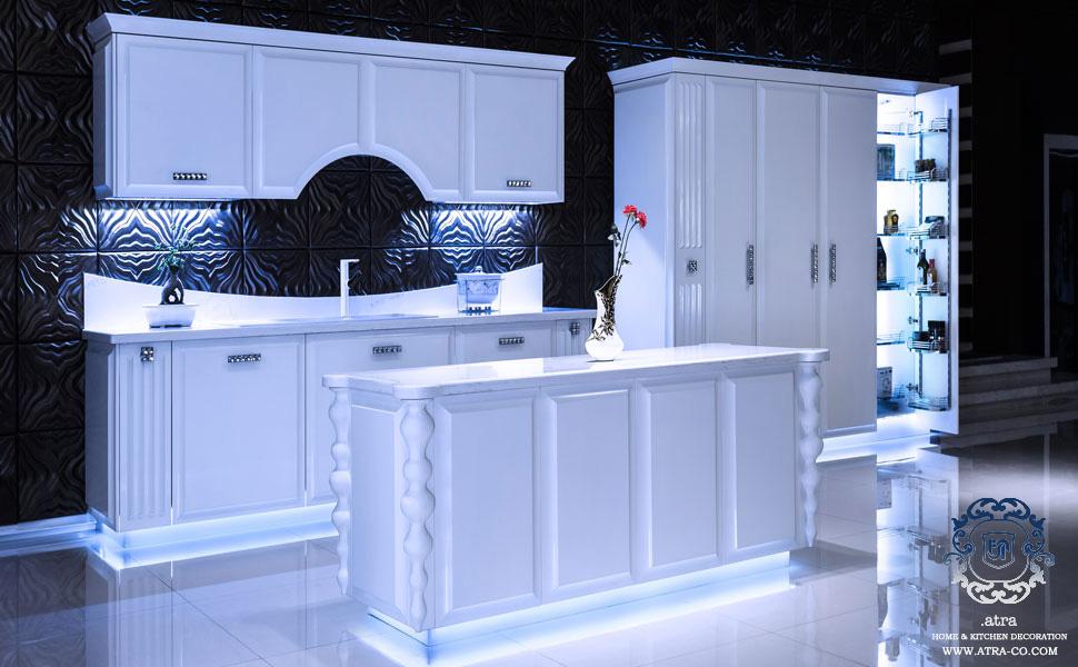 کابینت آشپزخانه مشهد پست مدرن چوب و لاکر مدل لوتوس، ساخت گروه طراحی دکوراسیون داخلی آترا مشهد
