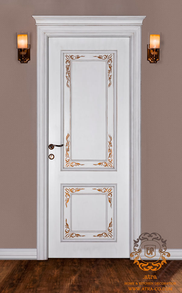 درب چوبی از جنس چوب راش رو روکش ملچ، طراحی و ساخت توسط گروه طراحی دکوراسیون داخلی آترا مشهد