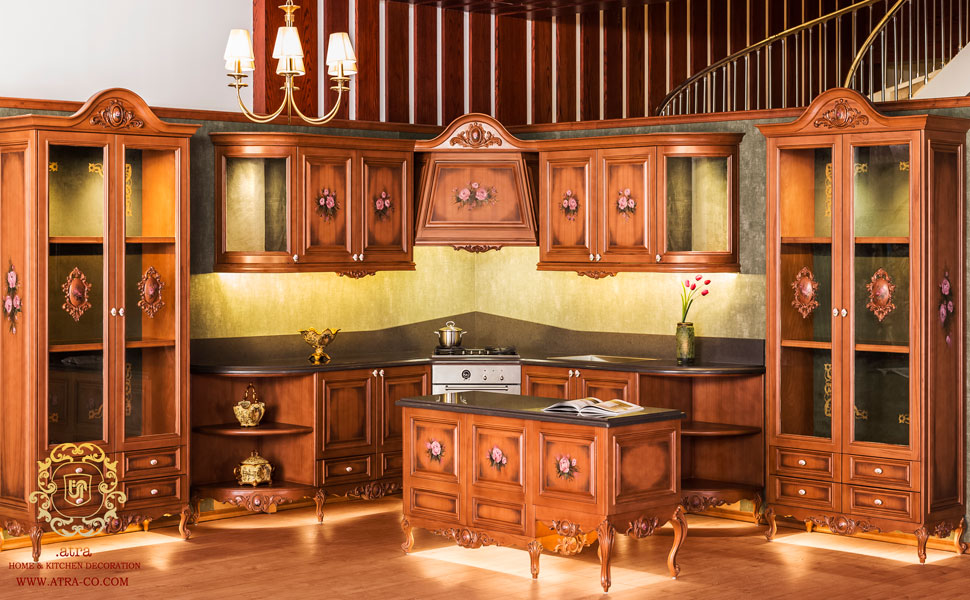 Classic wooden kitchen cabinets and decoration, Elizabeth Model