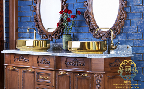 Wooden classic twin WC cabinets which inlaid with wood