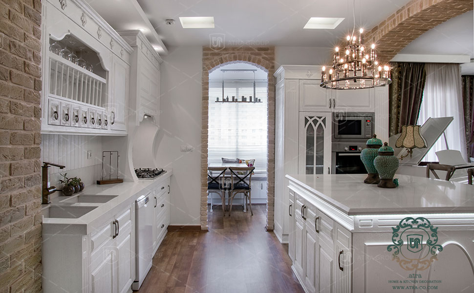 Oak kitchen cabinets and interior decoration