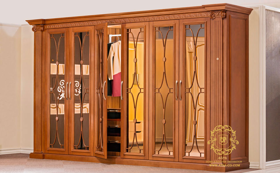 classic wooden wardrob  with hinged doors