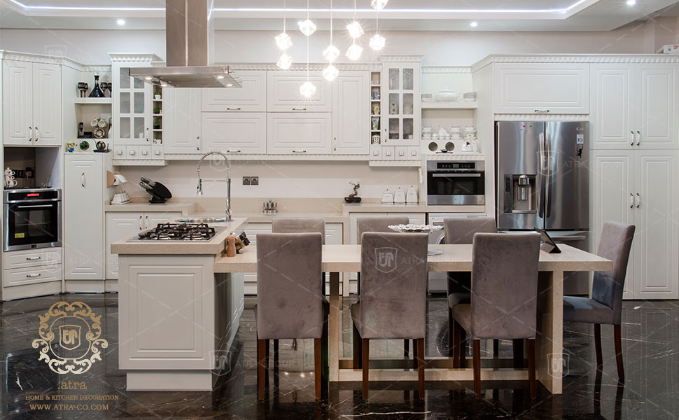 Interior design and decoration, kitchen cabinets, vacuum