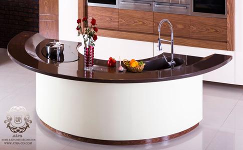کابینت   آشپزخانه مشهد مدل مدرن آرمیس، طراحی و ساخت توسط گروه طراحی دکوراسیون داخلی آترا مشهد