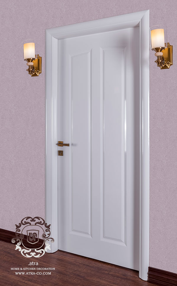 wooden door with White lacquer material with embossing and handmade tools
