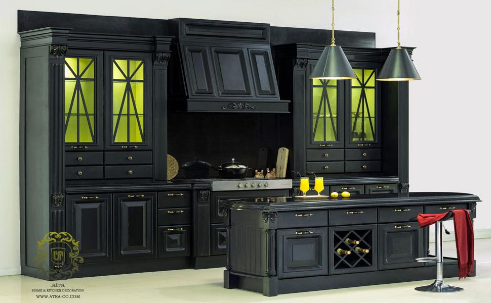 کابینت آشپزخانه مشهد مدل کلاسیک لاکر و مشکی پورش تمام چوب، گروه طراحی دکوراسیون داخلی آترا مشهد