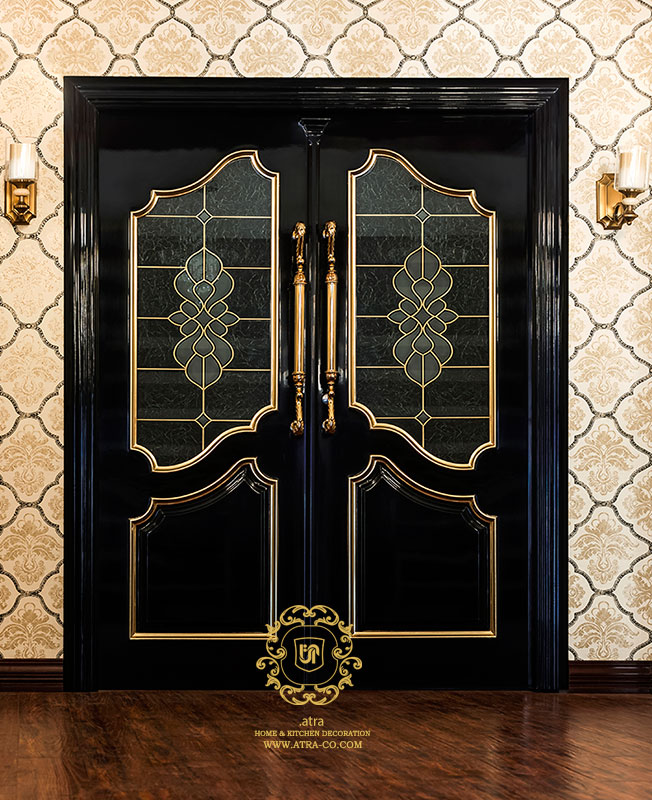 wooden, 2-piece door with sandblasted glass